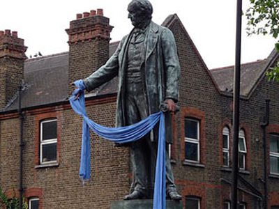 Statue with blue scarf
