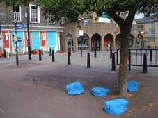 Blue tree stump seats