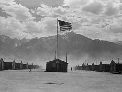 Manzanar with American flag