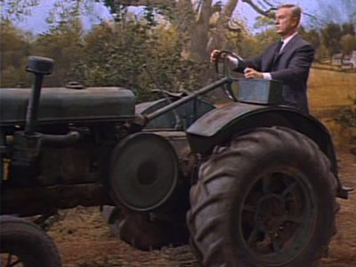 Eddie Albert on a tractor